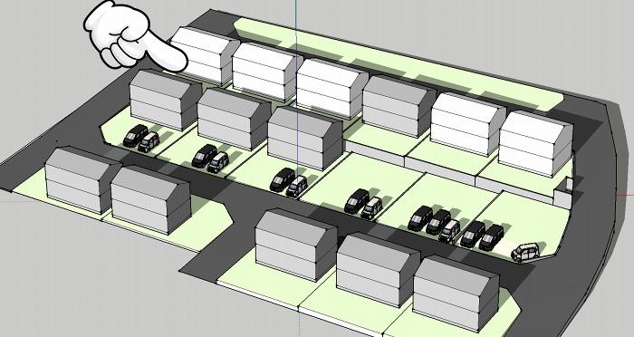 分譲地3Dモデリングに建物仮配置。