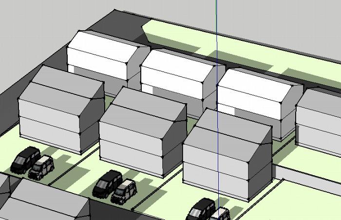 分譲地3D片流れ屋根モデリング